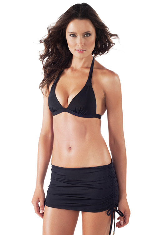 Voda Swim Envy Push Up Adjustable Skirted Bikini in Black - Beachbliss Swimwear & Apparel - 1