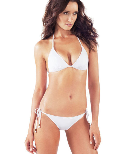 Voda Swim String Bikini Brazilian Cut Bottom in White - Beachbliss Swimwear & Apparel - 3