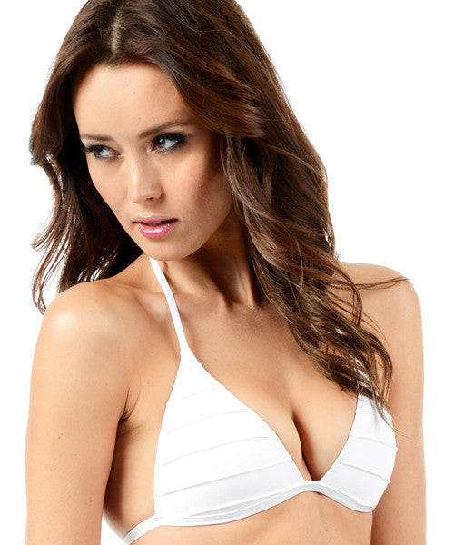 Voda Swim Envy Push Up Pleated String Bikini Top in White - Beachbliss Swimwear & Apparel - 1
