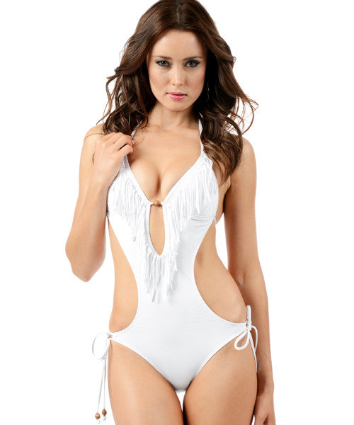 Voda Swim Envy Push Up Fringe Monokini in White - Beachbliss Swimwear & Apparel - 1