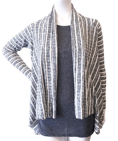 Elan - Black & Black/White Stripe Jacket Cardigan - Beachbliss Swimwear & Apparel - 1