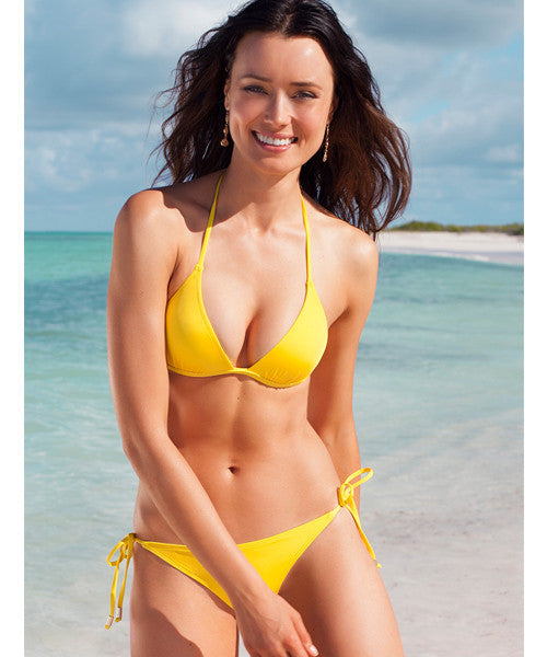 Voda Swim Envy Push Up String Bikini Top in Yellow - Beachbliss Swimwear & Apparel - 6