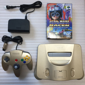 Gold Nintendo 64 (JP/US) with ULTRA HDMI kit - Star Wars Racer set