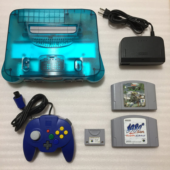 Clear blue Nintendo 64 set with ULTRA HDMI kit - compatible with JP and US games - Hori pad set