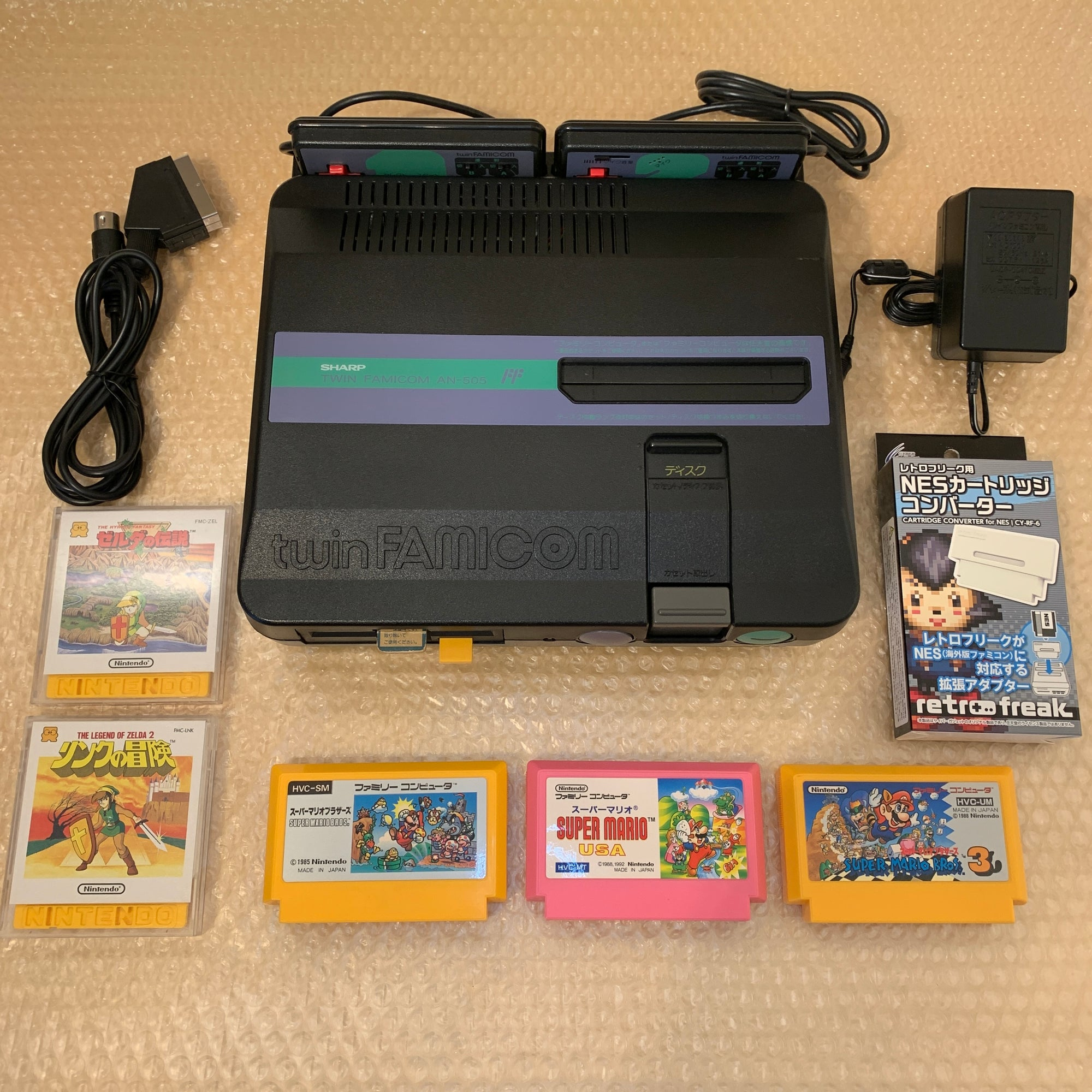 SHARP Twin Famicom set (AN-505-BK) with NESRGB kit and NES converter