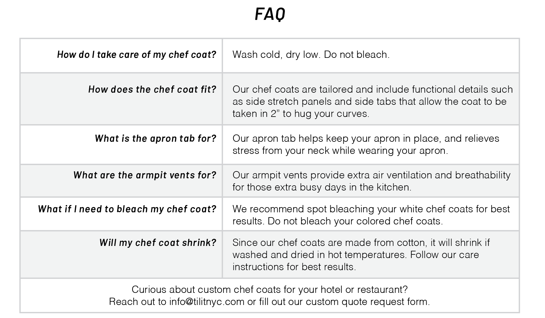 Men's Long Sleeved Chef Coat FAQ