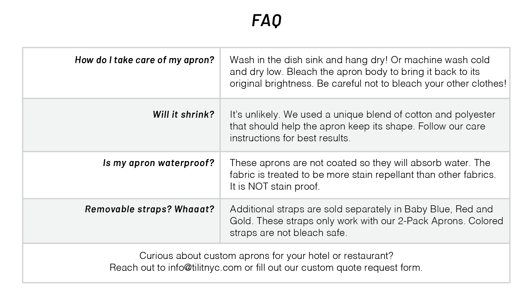Bib Apron 2 Pack FAQ