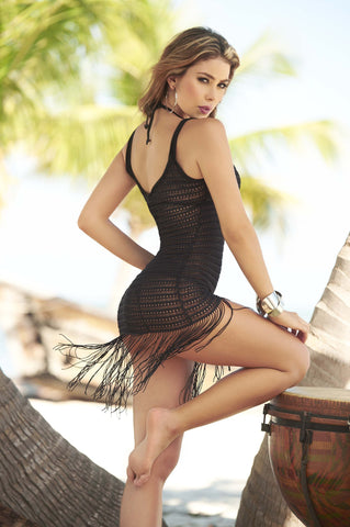 MP Cover Up & Beach Dress with Fringe in Black - 7702
