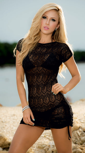 MP Cover Up & Beach Dress with Side Drawstring in Black - 7723