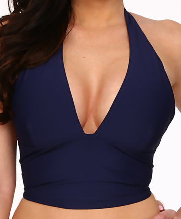 Tara Grinna InNavy Blue Cup Sized Halter Top NV-169