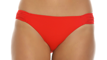Tara Grinna Red Ruched Tab Bikini Bottom RE-258