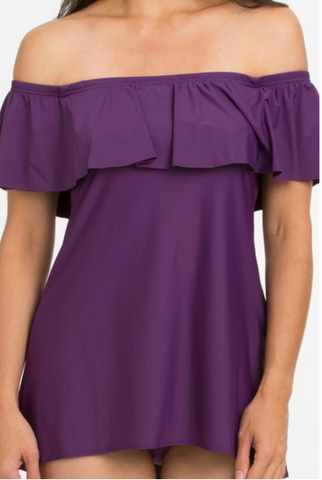 Tara Grinna Eggplant Off the Shoulder Swimdress EP-165