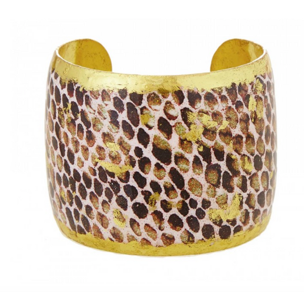 "PY115 Snakeskin Chocolate Cuff 2"" in Gold"