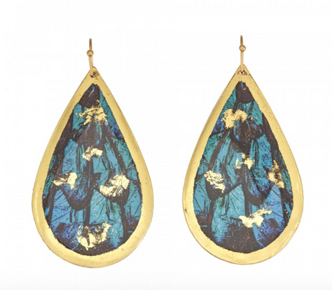 GN426 Turquoise Butterfly Wing Teardrop Earrings