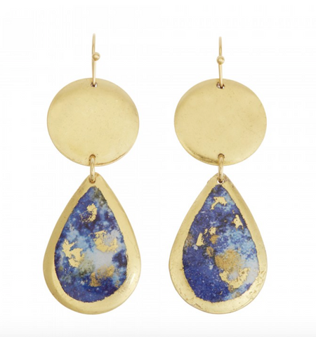 MI405 Lapis Mini Teardrop Earrings Gold