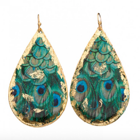GN408 Feather Peacock Teardrop Earrings