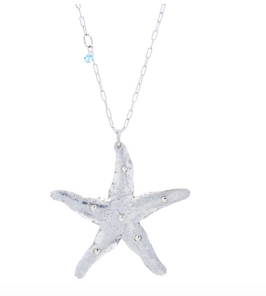 OC214 Starfish Necklace w/ Crystals