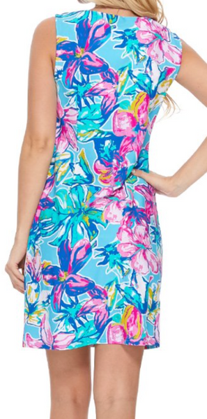 Emma split neck- in sky floral