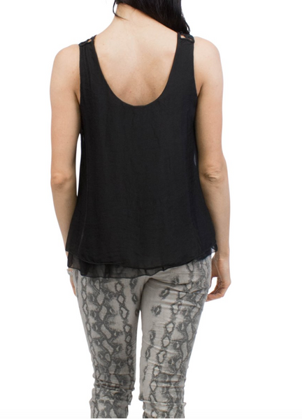 Mermosa Washable Silk Reversible Crochet Tank - Black