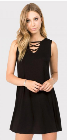Criss Cross My Heart Dress - Black