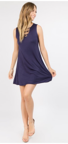 Criss Cross My Heart Dress - Navy