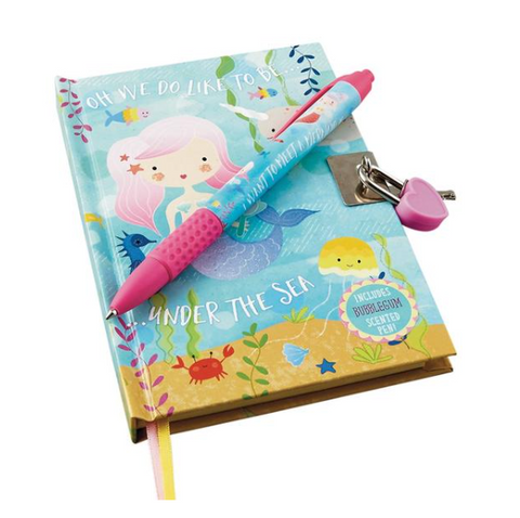 Mermaid Lockable notebook w/scented pen