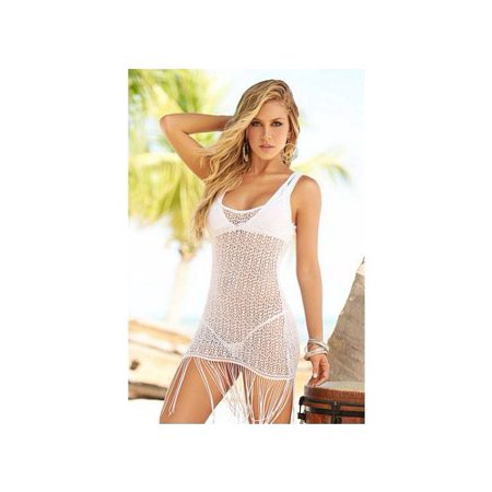 MP Cover Up & Beach Dress with Fringe in White - 7702