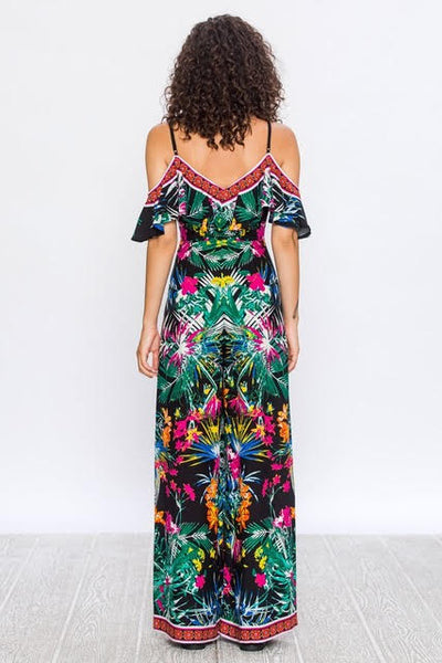 Floral Tropical Off the Shoulder Jumpsuit