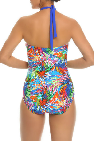 Tara Grinna Whitehave Beach Bandeau One Piece with Overlay - WI344