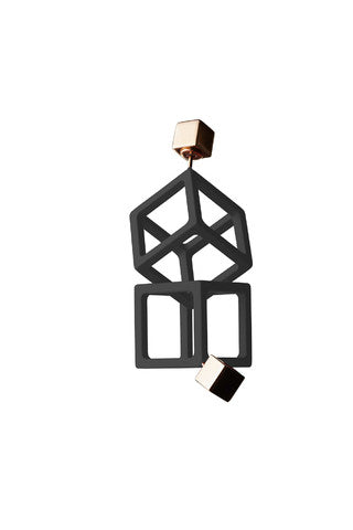 JASON BLACK ENAMEL CUBE EARRINGS