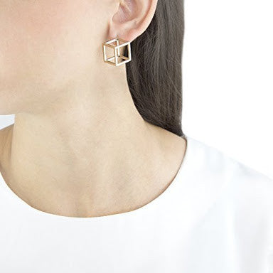 JASON WHITE ENAMEL CUBE EARRINGS
