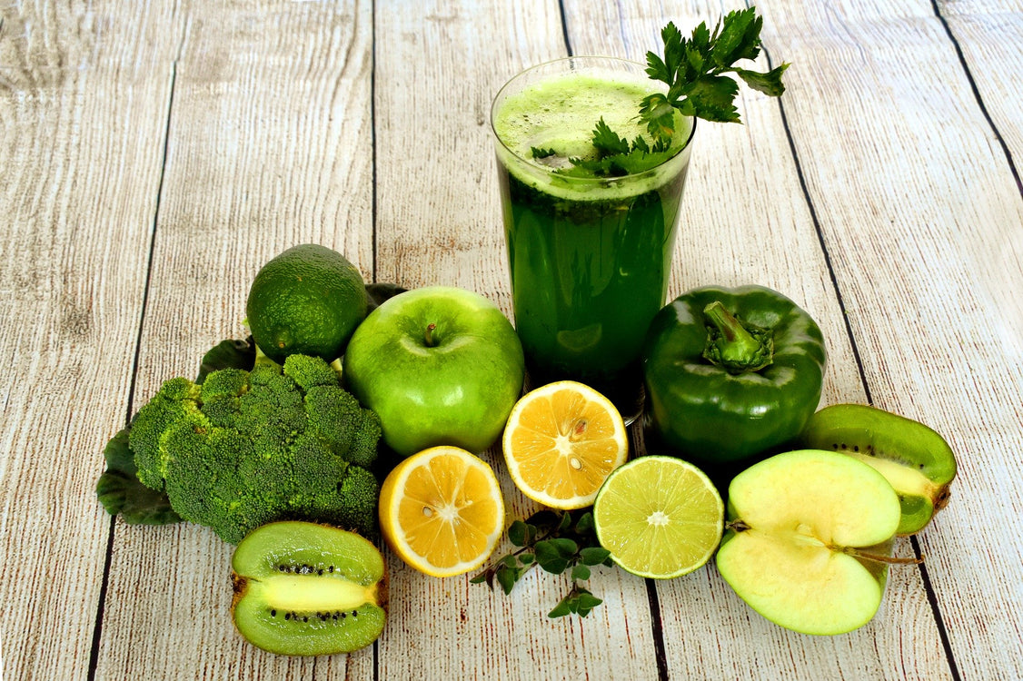 Green vegetables and fruit smoothie