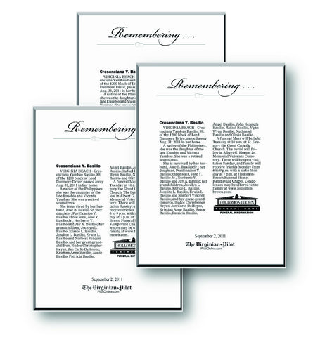 Family Pack of 3 Obituary Keepsakes