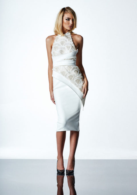 Little Havana Dress in White/Gold