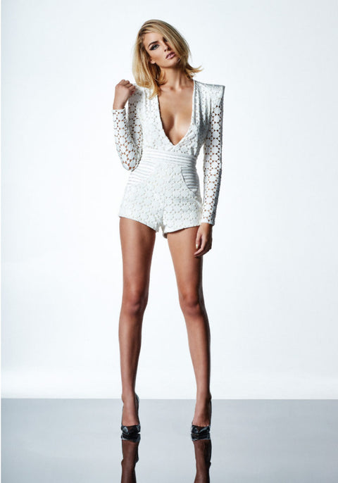 Cavalier Playsuit in White/Gold