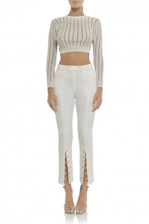Blair Crop Top in Ivory Gold