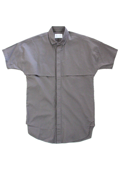 Dayne Short Sleeve Button Up in Charcoal
