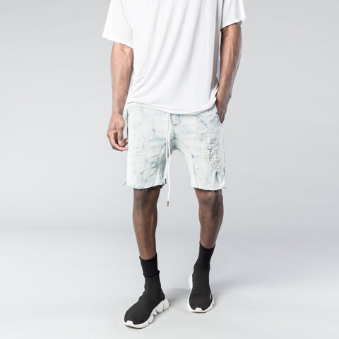 Distressed Zip Shorts in Light Blue Beach Splatter