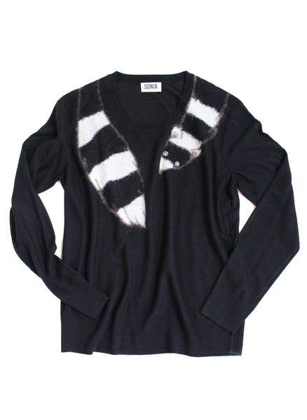 Fox Intarsia Sweater in Black