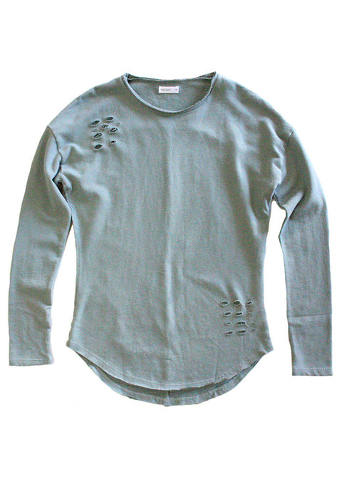 Slashed L/S Tee in Chinios Green