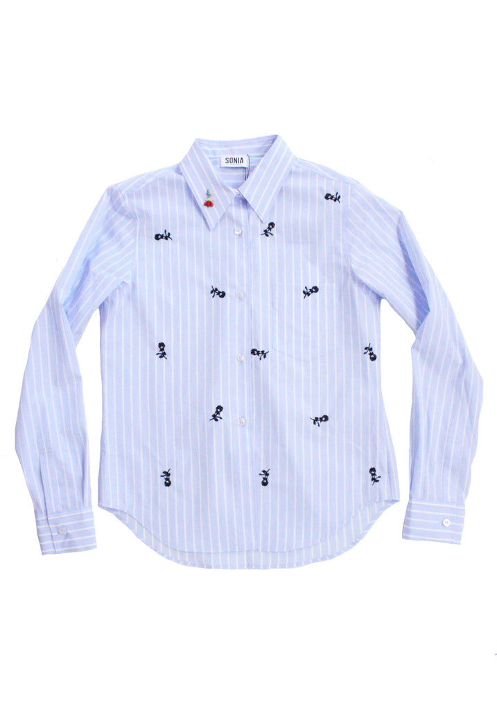 Striped Poplin Shirt With Floral Embroideries
