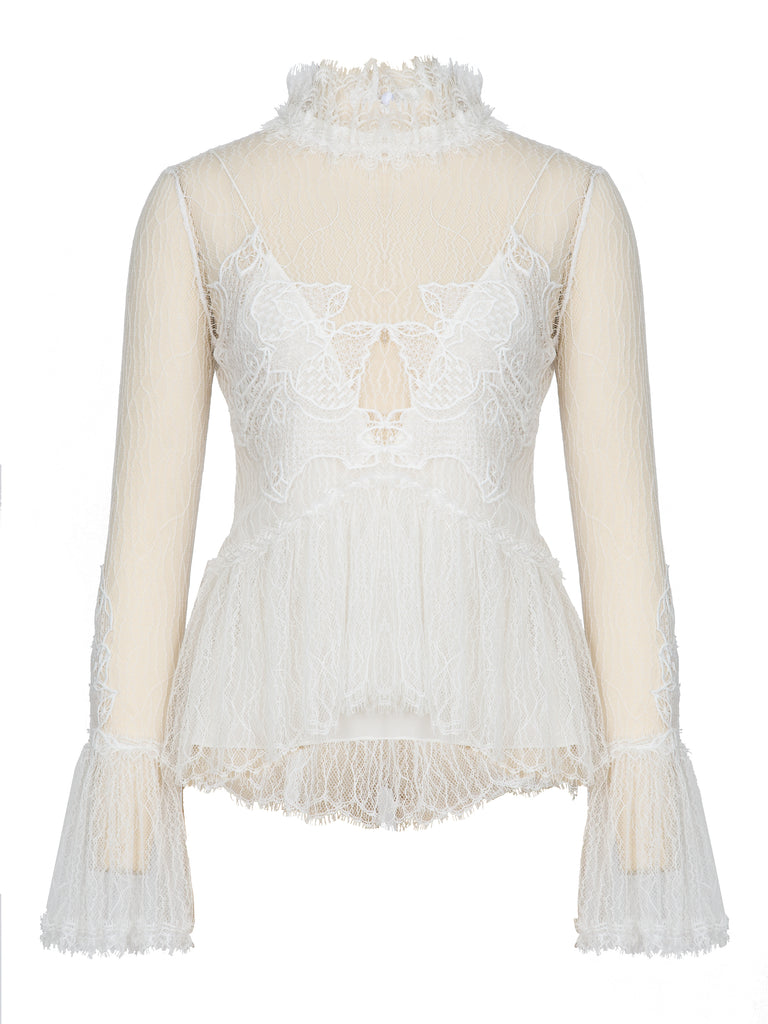 Thread Mesh Window Lace L/S