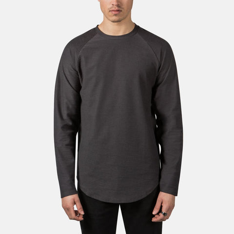 Scooped Longsleeve Tee in Charcoal