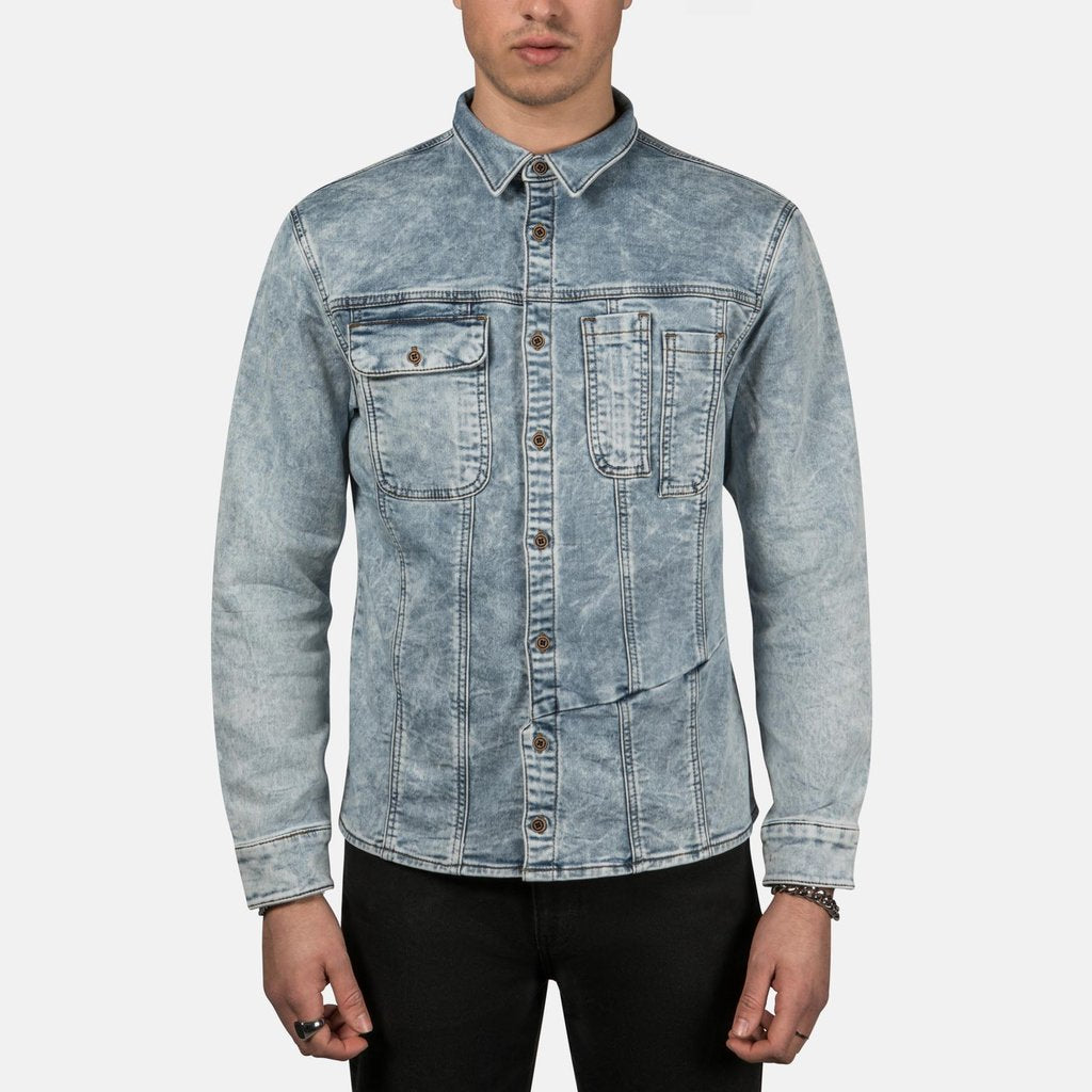 Retooled Trucker Shirt in Bleached Blue
