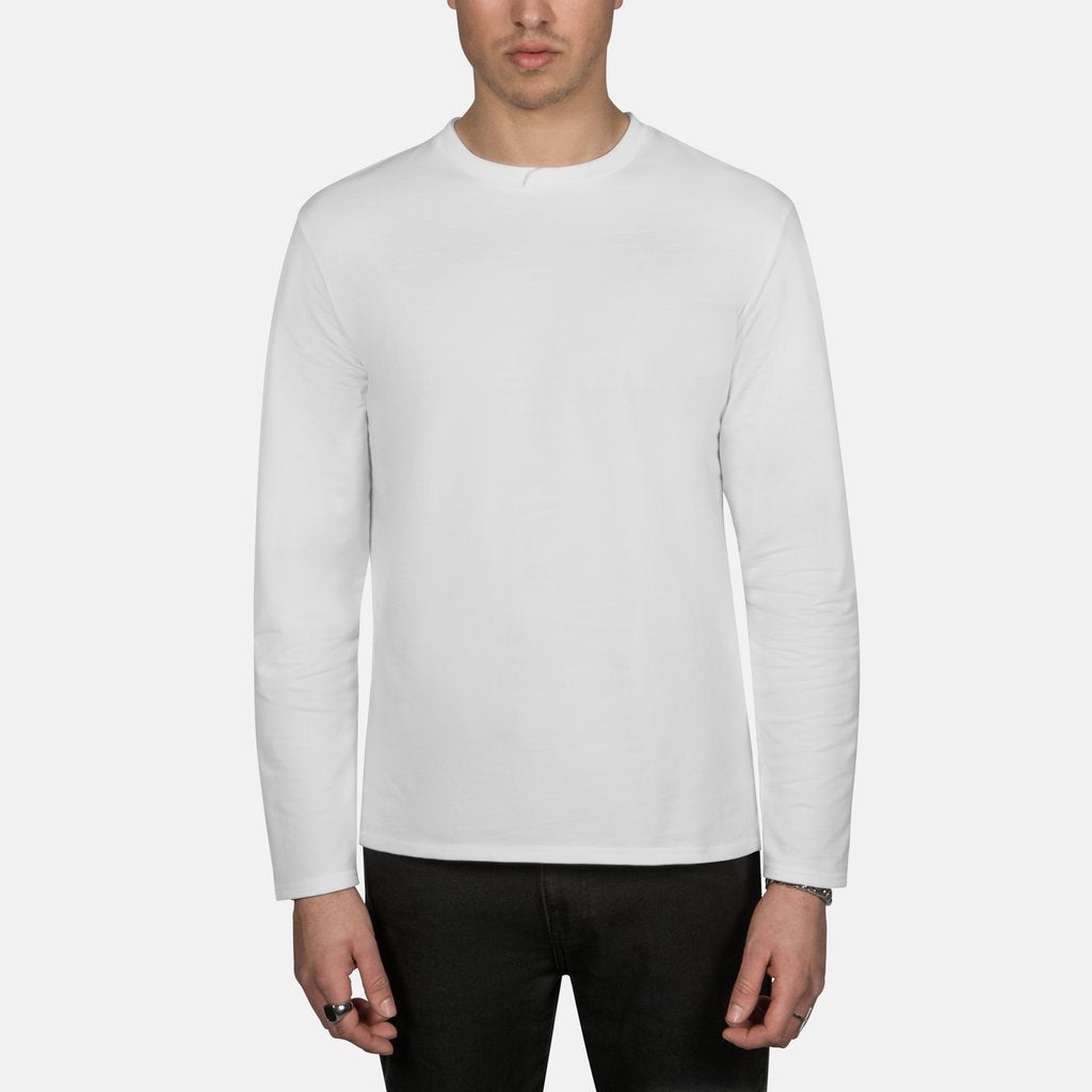 Cross Neck Longsleeve in Off White