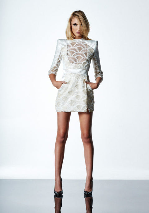 Rumi Mini Dress in White/Gold