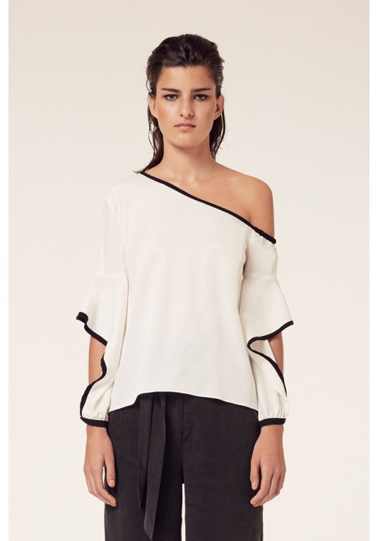 Ashton Waterfall Sleeve Top in Ivory