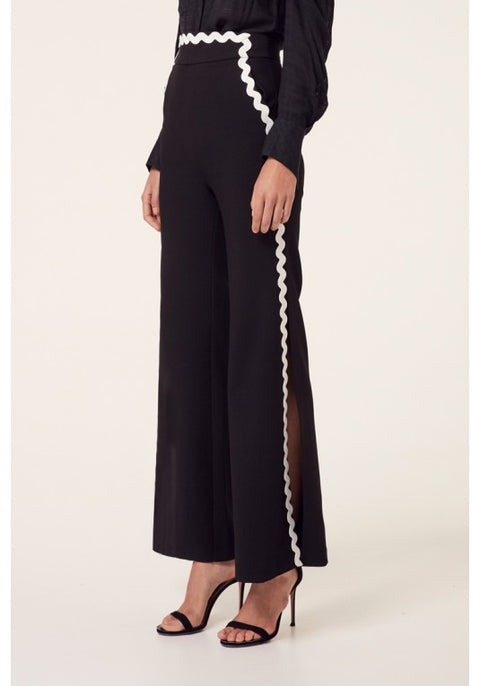 Athena Wide Slit Hi-Waisted Pant in Black