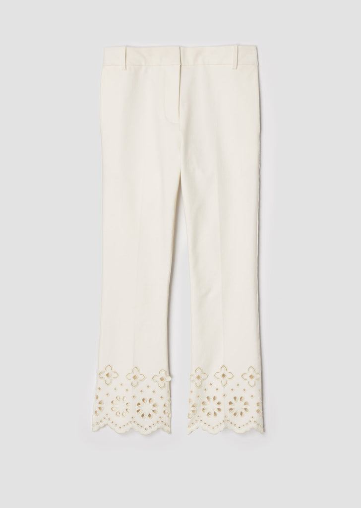 Cropped Flare Trouser W/ Eyelet Embroidery