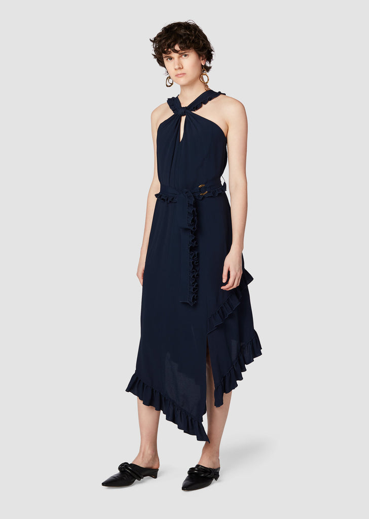 Asymmetrical Halter Dress in Midnight